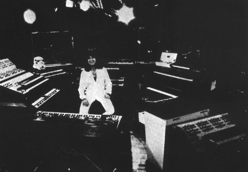 Patrick and his keyboards, from 'Future Memories, M400 & MkV both visible'